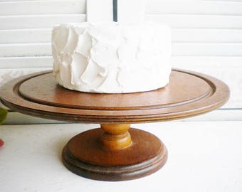 Rustic Wood Cake Stand Etsy