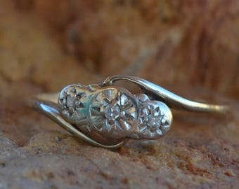 DEADsy LAST GASP SALE Tudor Rose Three Stone : Antique Victorian English Triple Diamond Engagement Ring,  Two Tone Bypass Band // Very Old M