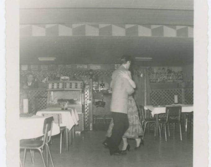 Vintage Snapshot Photo: Dancing Couple in Empty Restaurant, 1950s (78596)