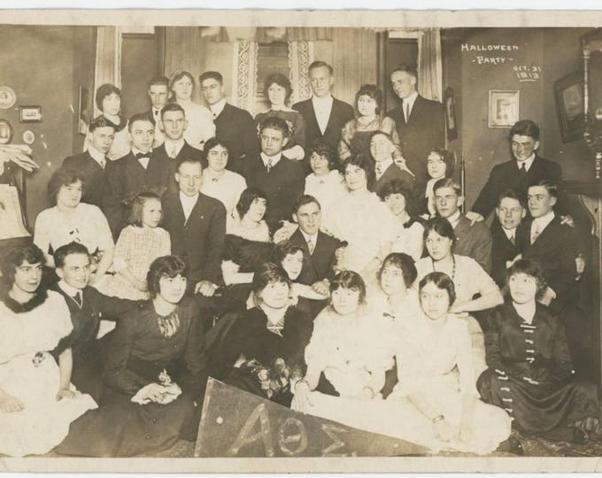 Halloween Party; Sorority and Fraternity, 1913: 5x7 Vintage Snapshot Photo (78596)