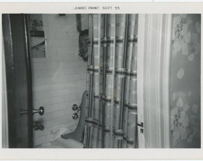 Vintage Snapshot Photo: Girl Behind the Shower Curtain, 1955 (79606)