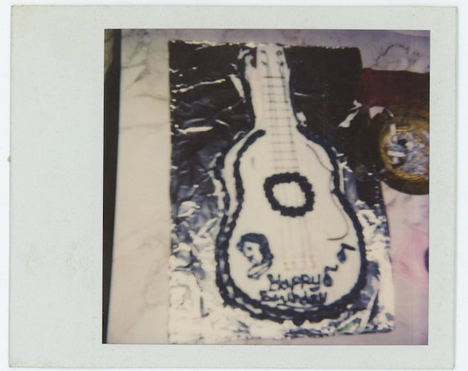 Vintage SX-70 Polaroid Snapshot Photo: Guitar Birthday Cake and Ashtray (711621)