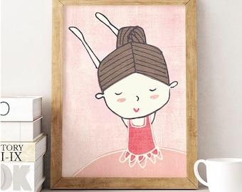 Ballerina, Ballerina art, Ballerina print, Ballerina poster, Ballerina dancing, Ballerina nursery, Ballerina Wall Art, Little Girl Print