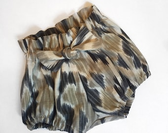 Cotton Ikat Print High Waisted Bloomers Shorts for Girls 12-18 months Ready to Ship
