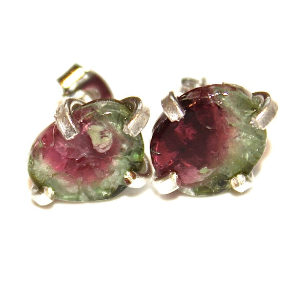 Large Watermelon Tourmaline Stud Earring in Sterling SIlver
