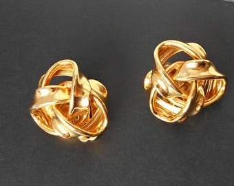 Vintage Erwin Pearl Earrings KNOT Gold Tone Clip on back
