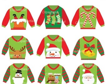 ON SALE INSTANT Download. Christmas ugly christmas sweater clip art. Ccs_4. Personal and commercial use.