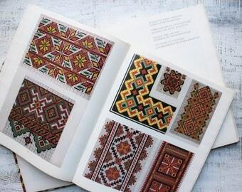 Big vintage book of Ukrainian folk embroidery patterns, embroidery design, diy boho chic cross stitch French German English