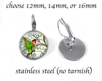 Green Hummingbird 3 Earrings - Stainless Steel Post or Leverback Style Choose 12mm, 14mm, or 16mm - Hummingbird Jewelry - Gift Box Included