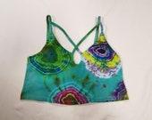 Funky Tie Dye Ladies Crop Top size Large W509