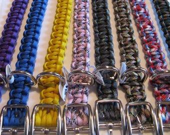 "Custom Handmade 22"" L X 3/4"" W Adjustable Dbl. Bar Buckle Paracord Dog Collar - Choose Colors"