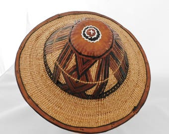African Hat, West Africa Tribal Fulani, Wadoobe Cattle Herder Hat, Woven Fibers and Leather, Vintage, Hand Woven, Esquisite