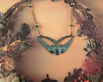 The flight of the patina swallow necklace