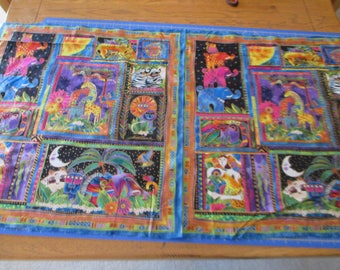 """Quilting Weight Cotton Fabric Mythical Jungle Panel by Laurel Burch for Clothworks 23"""""""