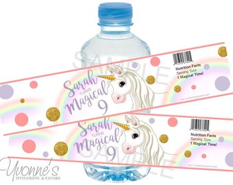 Unicorn Birthday Water Bottle Label/Wrappers- Sparkly Magical Unicorn with Flowers for Birthday, Sweet 16, Baby Shower