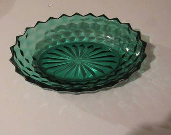 Indiana Glass Whitehall teal green american design bowl