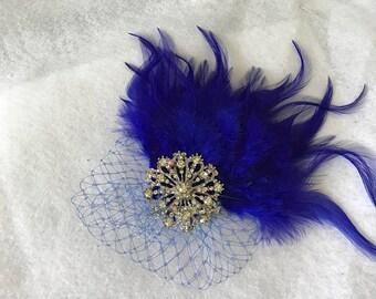 Royal blue Wedding Feather Hair Clip, Blue Feather Fascinator, Cobalt blue Feather Headband, Bridesmaid Feather Hair Clip,Wedding Fascinator