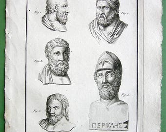 GREEK PHILOSOPHERS Writers AEschylus  Sophocles Miltades Pericles Euripides  - 1804 Copperplate Engraving