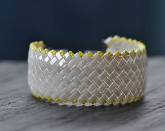 White and Yellow, Herringbone stitch, Half Tila Bracelet, Czech Glass beads, Handstitched cuff