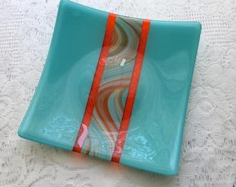 Fused Glass Plate, Turquoise Orange Art Glass Dish, Southwest Home Decor