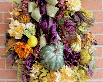 XXL Eggplant Purple, Gold and Moss green Elegant Tuscan Fall Wreath, Pumpkin, Extra large, Wisteria, Pear, Thanksgiving, Autumn, rustic