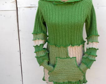 Sweater Hoodie - Upcycled Sweater - Upcycled Clothing - Festival Clothes - Eco Friendly - ThankfulRose - Faerie - Pixie - Cotton Knit