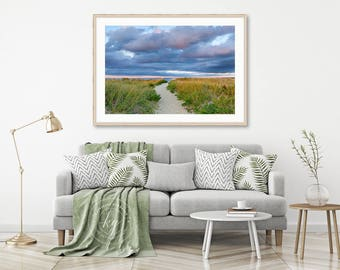 Nantucket Photo Print Beach Path Sunset Dunes Grass Beach Decor Coastal Art Large Wall Art Cape Cod Photography Blue Green Yellow Purple
