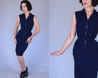 1950s Ferragosto dress | vintage 50s dark blue linen button front sheath dress with belt | xs