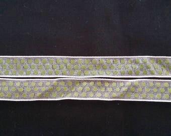 Light pink organza Ribbon with green dots