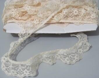 Ivory Lace, Ruffled Lace, Gathered Lace, 10 yards Ivory lace