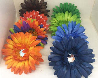 8 pieces assorted colours silk gerbera daisy flowers, craft flowers