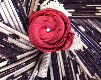Maroon boutonniere | sola flower boutonniere | rustic boutonniere | rustic wedding | groom's boutonniere | wedding boutonniere