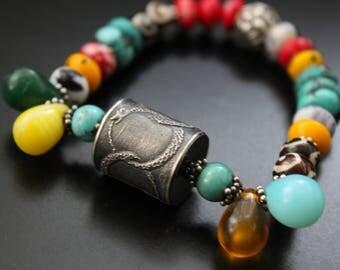 Anne Choi bead bracelet, ouroboros bead bracelet, infinity symbol bracelet, vintage African beads bracelet, boho tribal OOAK bracelet