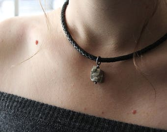Rough Pyrite Cube Leather Choker, Simple Minimalist Necklace, Black and Silver Necklace, Dressy or Casual Boho Necklace, Sterling Necklace