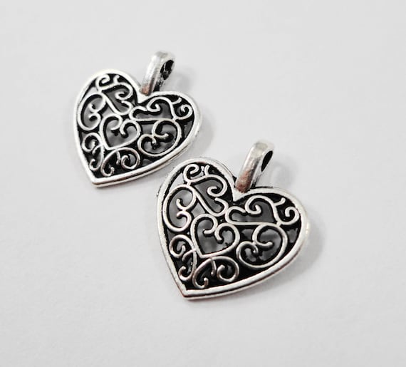 Silver Heart Charms 16x14mm Antique Silver Metal Filigree Heart Valentine's Day Charm Pendant Jewelry Making Findings Craft Supplies 10pcs