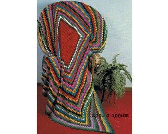 Granny Afghan Crochet Pattern Vintage Crochet Home Decor Throw Digital Crochet Pattern