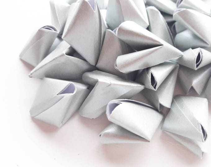 200 luxury metallic silver paper origami heart love quotes - wedding - simple decor - free delivery - wedding favour