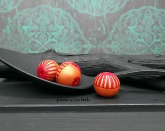 Striped Polymer Round Bead - Red Orange Bronze Stripe - Modern Bohemian Round Bead - 11mm - Pkg. 4