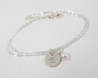 SALE - Sterling Silver Initial Bracelet - Hand Stamped Jewelry - Mommy Jewelry - Birthstone Jewelry - Personalized Bracelet
