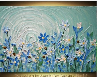 SALE Original  Handpainted   Modern Acrylic Heavy  Impasto Palette Knife Blue   Wild  Flowers Painting. Size 40 x 30. Made2Order.