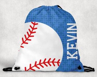 Personalized Drawstring Backpack - Baseball Backpack - Baseball Sports Bag - Personalized Kids Drawstring Bag
