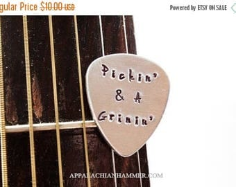 WEEKEND SALE Pickin and a Grinin Aluminum Hand Stamped Guitar Pick