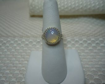 Cabochon Round Ethiopian Opal Ring in Sterling Silver   #2080