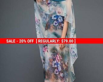 Floral dress, chiffon dress, split dress, cape dress, flare dress, cheongsam style dress, womens dress, summer dress, long dress C1158
