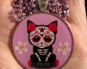 Sugar Skull Cat Necklace-Day of the Dead-Handmade Resin Pendant Jewelry