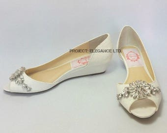 SALE! Size UK4/US6/EURO37 Willow Ivory crystal glitter and satin Peep Toe, court shoes, low heel shoes, wedding shoes, bridal shoes, glitter