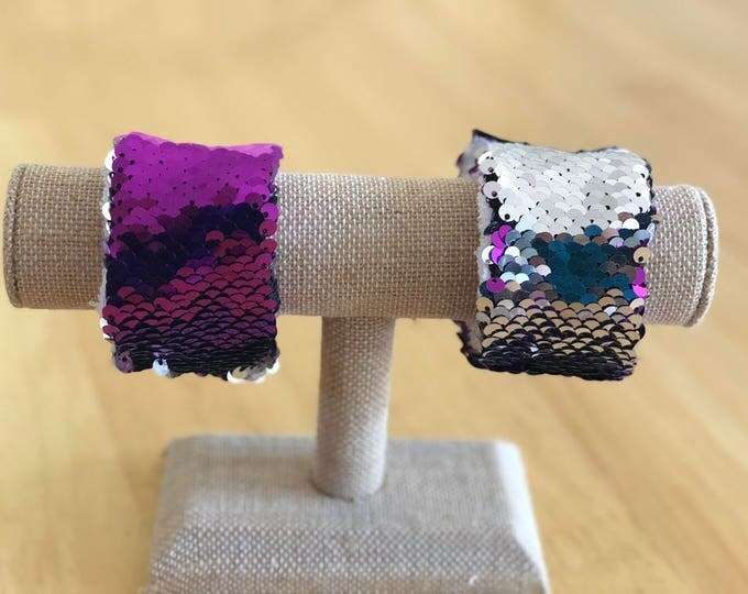 Sequin Mermaid Bracelet, Sensory Tool, Purple and Silver Double sided sequin, School Spirit Accessory, Calming bracelet, Kids bracelet