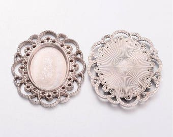 Cabochon Settings 25x18 Oval Cabochon Setting Cabochon Frame Cameo Settings Antiqued Silver Wholesale Pendants 2 pieces