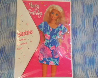1994 Barbie Birthday Card With Dress-Sealed