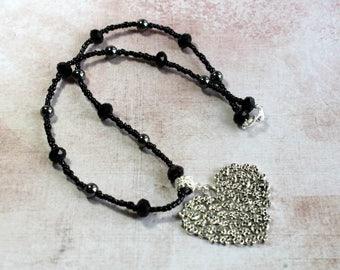 Skull Heart Necklace, Heart Necklace, Skull Necklace, Gothic Jewellery, Girlfriend Gift, Heart Jewellery, Black Heart Necklace, Goth Gifts